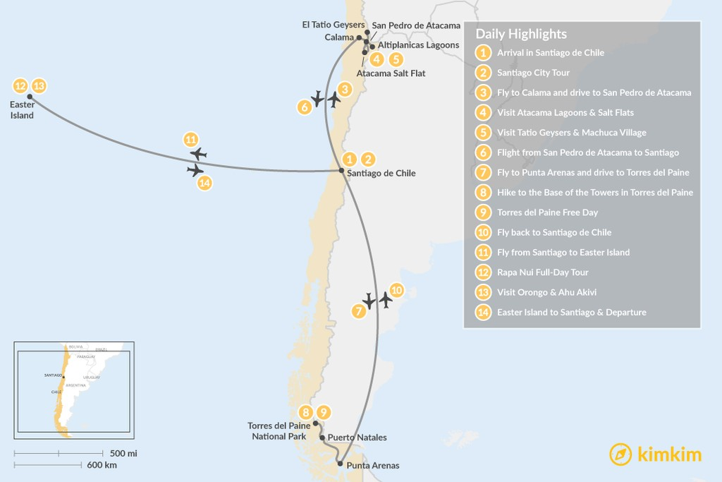 Map of Chile Highlights Adventure - 14 Days
