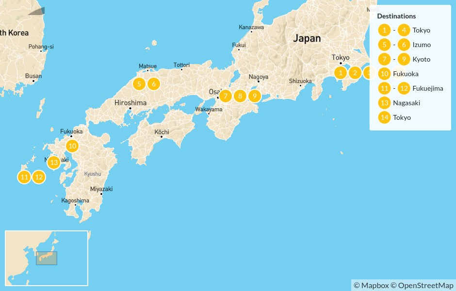 Map of Highlights of Japan: Cities, Countryside, & Islands - 14 days