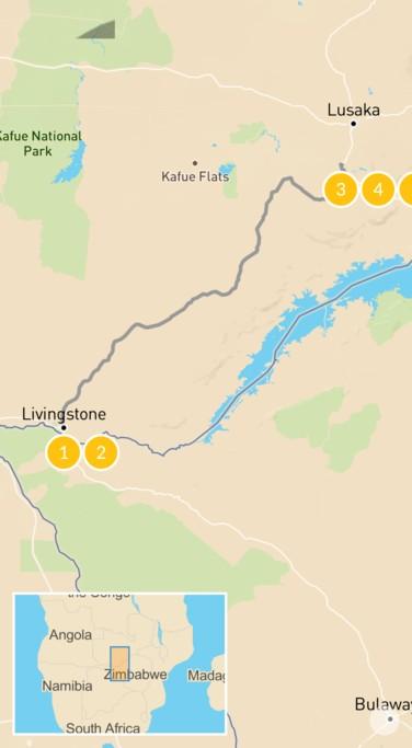 Map of Zambia Safari Adventure: Livingstone & Kafue - 7 Days