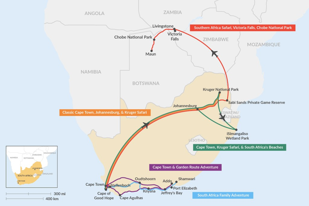 Map of 10 Days in South Africa - 5 Unique Itinerary Ideas