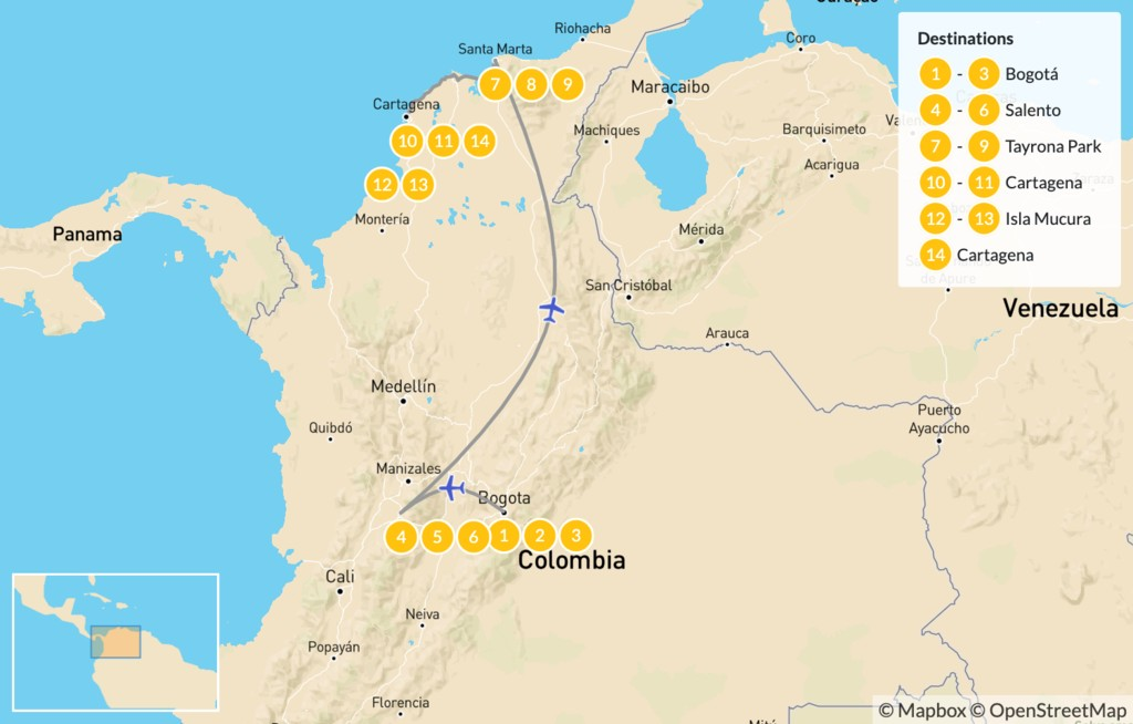 Map of Highlights of Colombia: Cities, Caribbean Coast, & Tayrona National Park - 15 Days