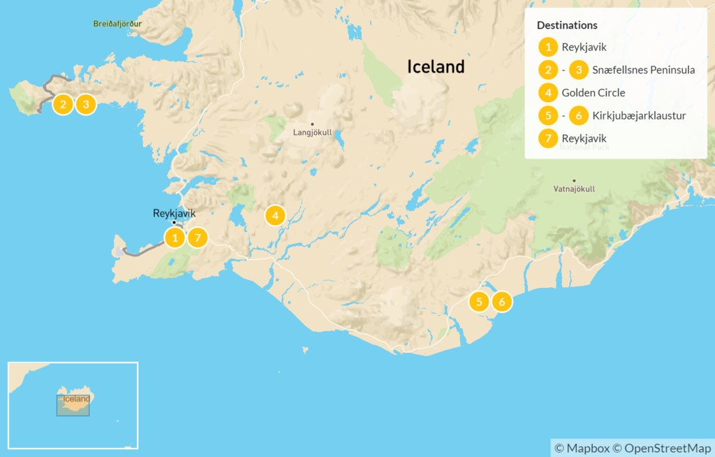 Map of Iceland Winter Highlights - 8 Days