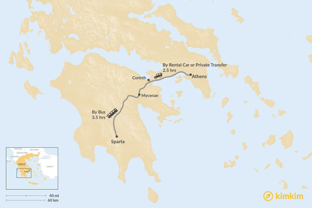 Map of How to Get from Athens to Sparta
