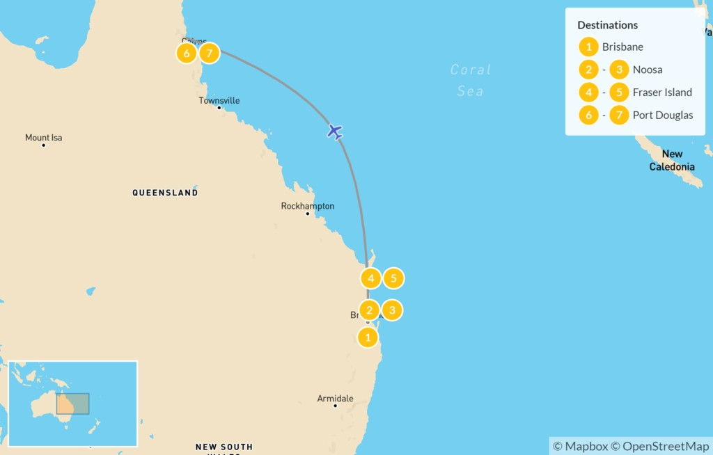Map of Discover Queensland - 8 Days