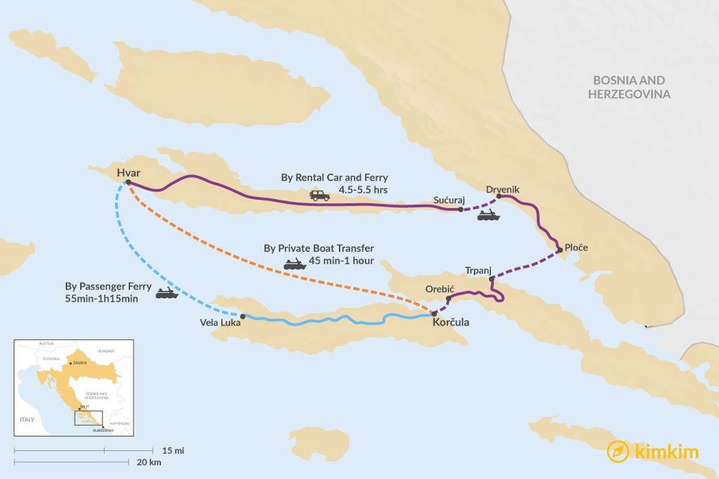 Map of How to Get from Hvar to Korčula