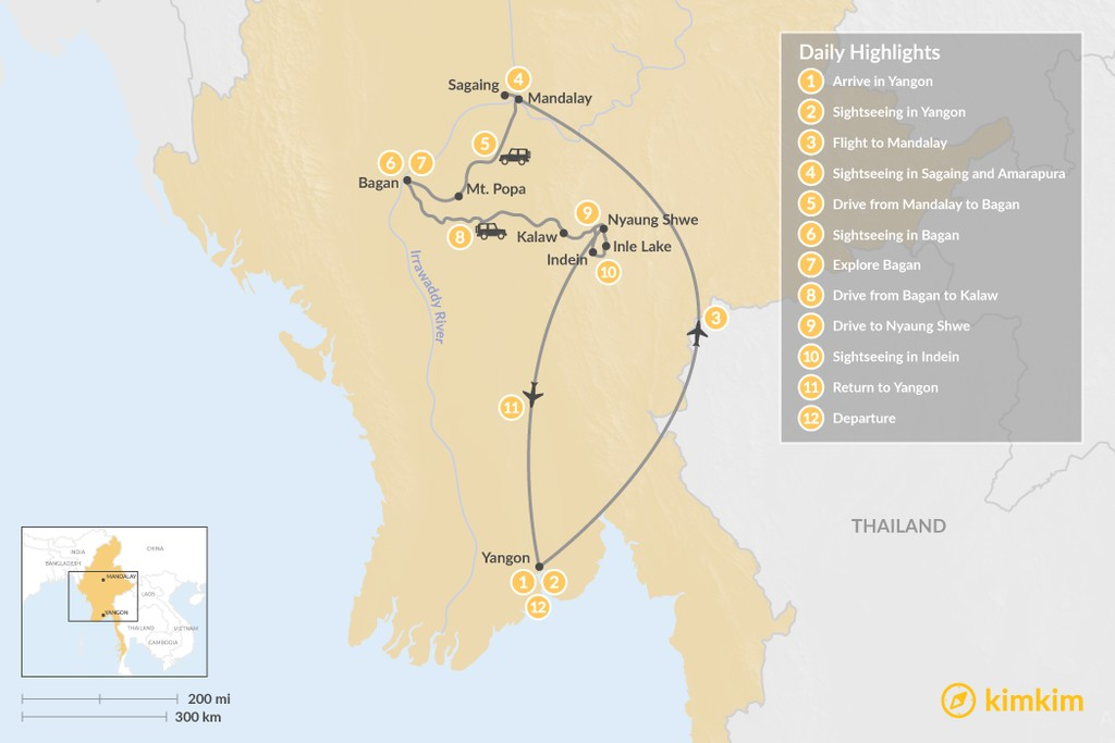 Map of Highlights of Myanmar - 12 Days
