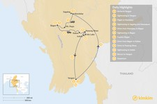Map thumbnail of Highlights of Myanmar - 12 Days