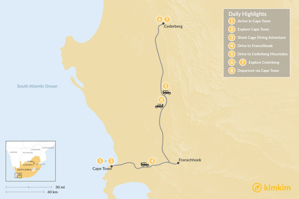 Map of Wine & Nature in South Africa: Cape Town, Winelands, & Cederberg - 8 Days