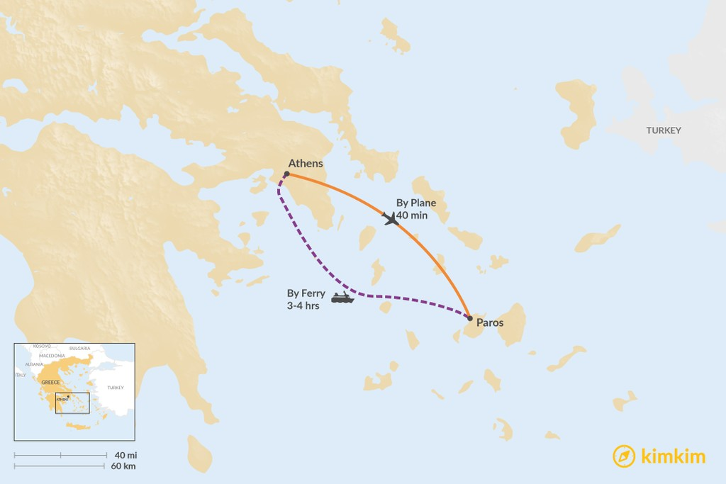 Map of How to Get from Athens to Paros