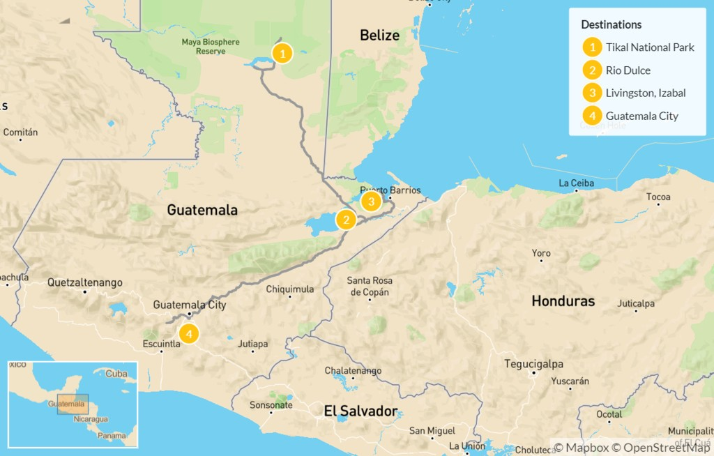 Map of Guatemala Mayan Journey: Tikal, Río Dulce, & Quirigua Ruins - 5 Days