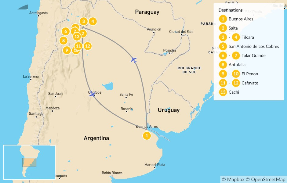 Map of Northern Argentina Road Trip - 14 Days