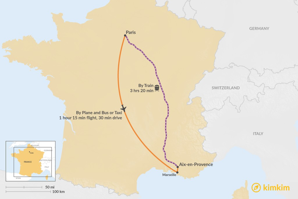 Map of How to Get from Paris to Aix en Provence