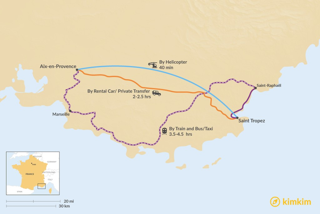Map of How to Get from Aix en Provence to Saint Tropez