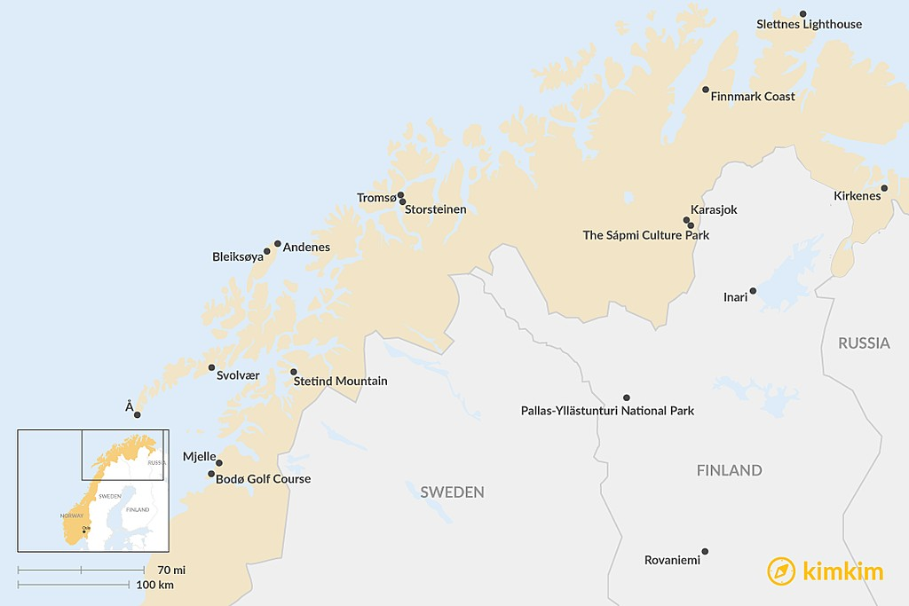 Map of Top 7 Lapland and Northern Norway Summer Experiences