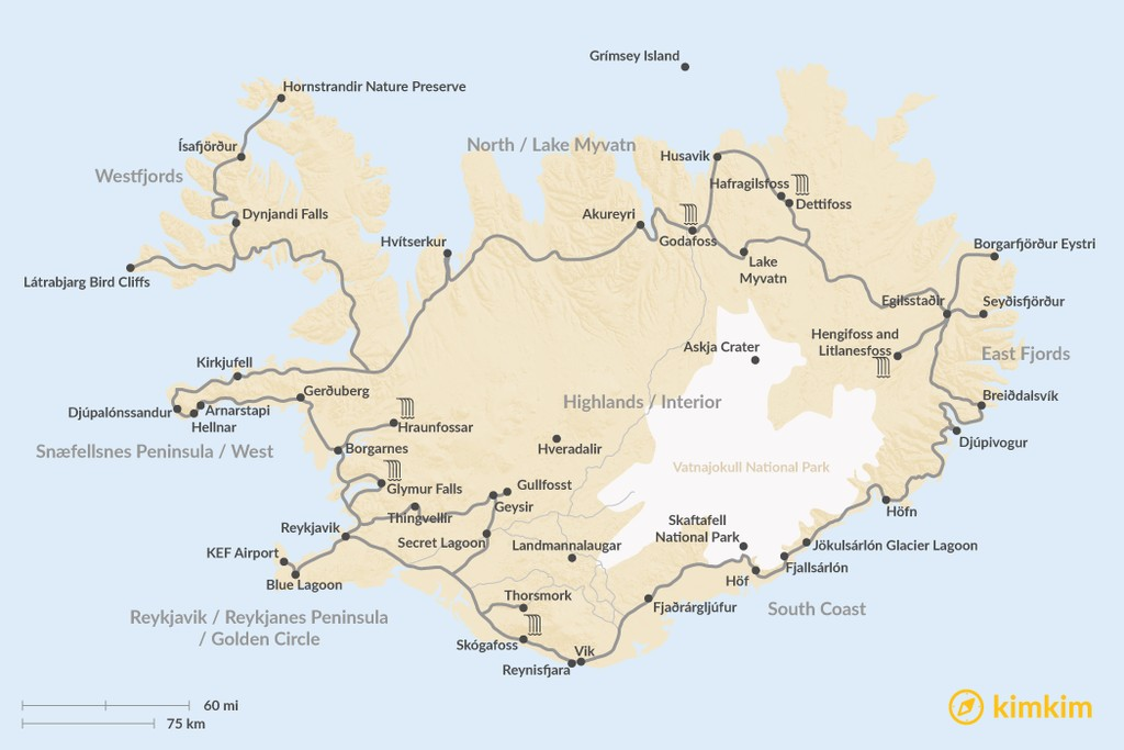 Map of Where To Go in Iceland: the Best Sights and Activities Region by Region