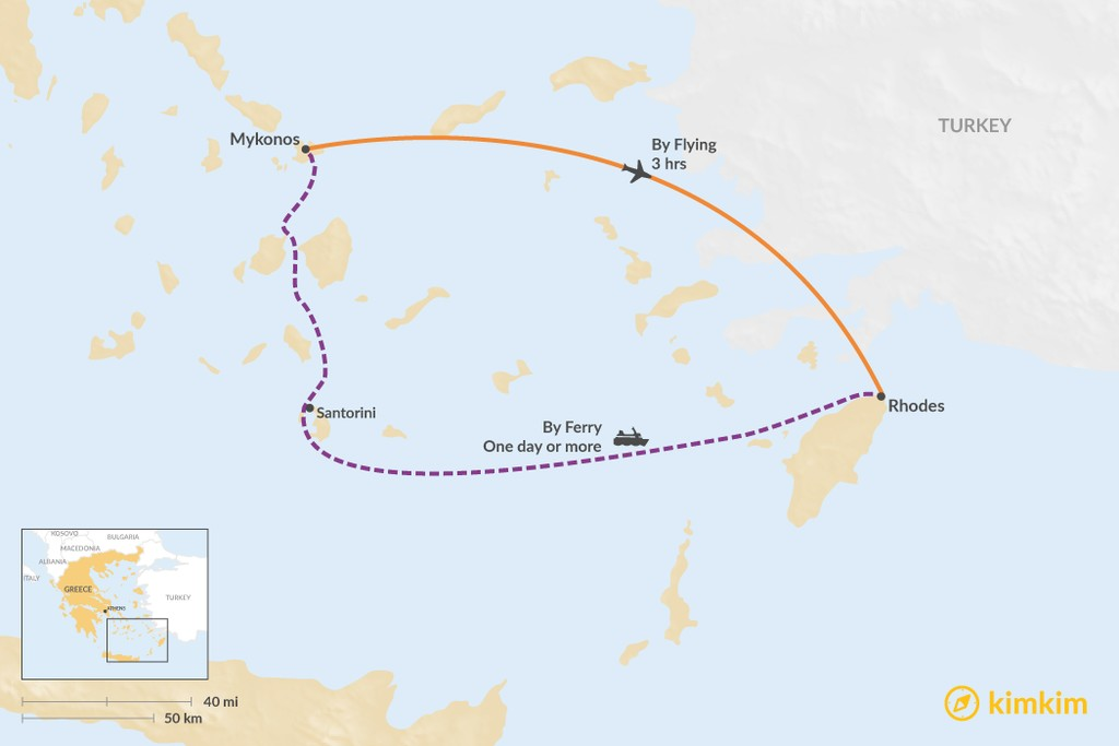 Map of How to Get from Mykonos to Rhodes