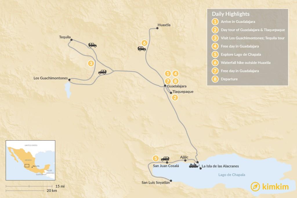 Map of Discover Guadalajara - 8 days