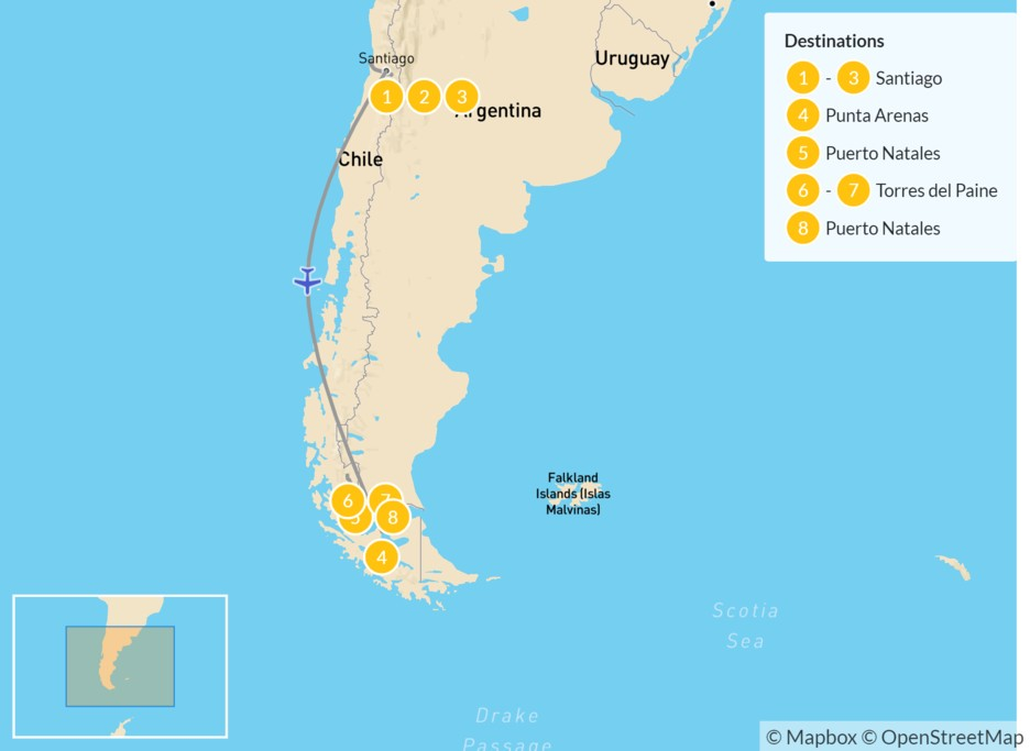 Map of An Active Tour of Chile: Santiago, Valparaíso, & Torres del Paine - 9 Days