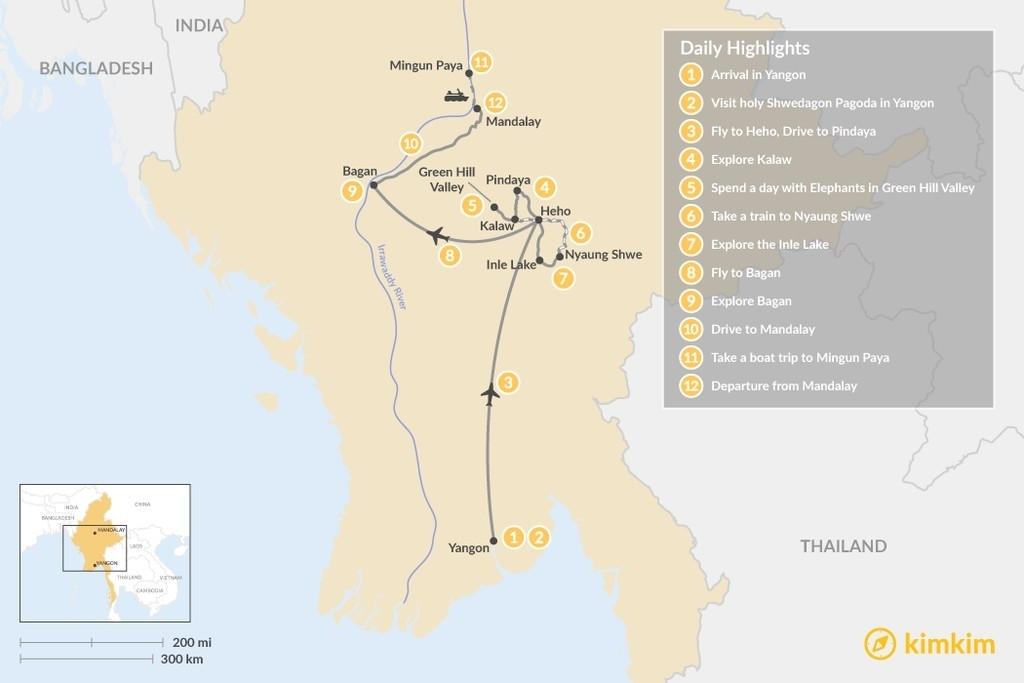 Map of Myanmar Family Holiday - 12 Days