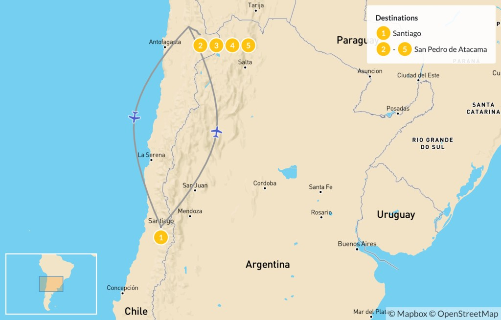 Map of Atacama Desert Highlights - 6 Days