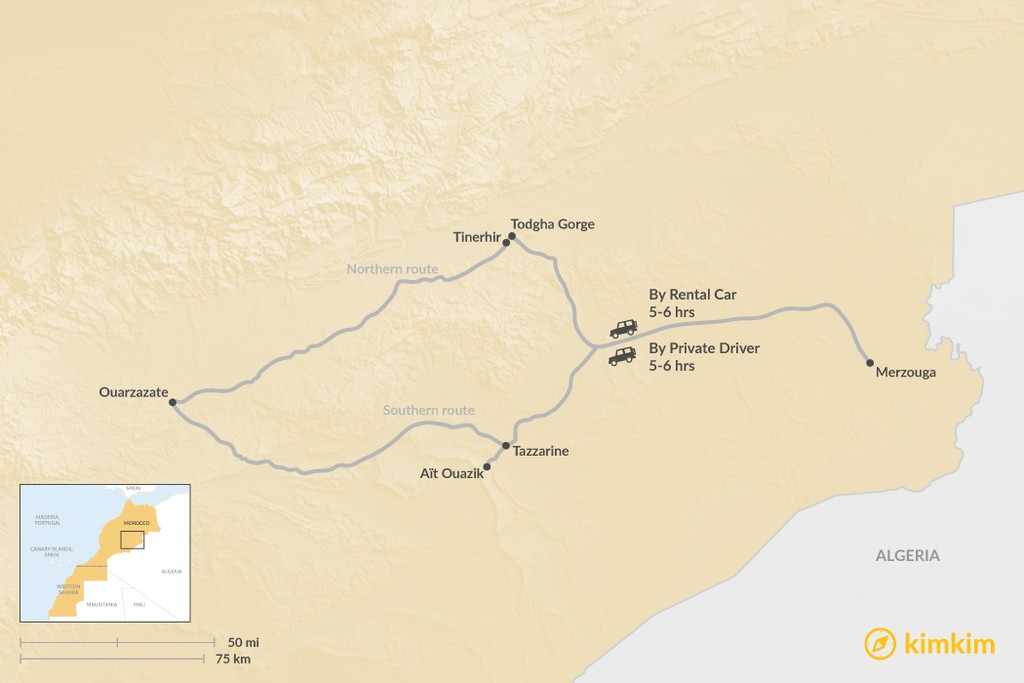 Map of How to Get from Merzouga to Ouarzazate