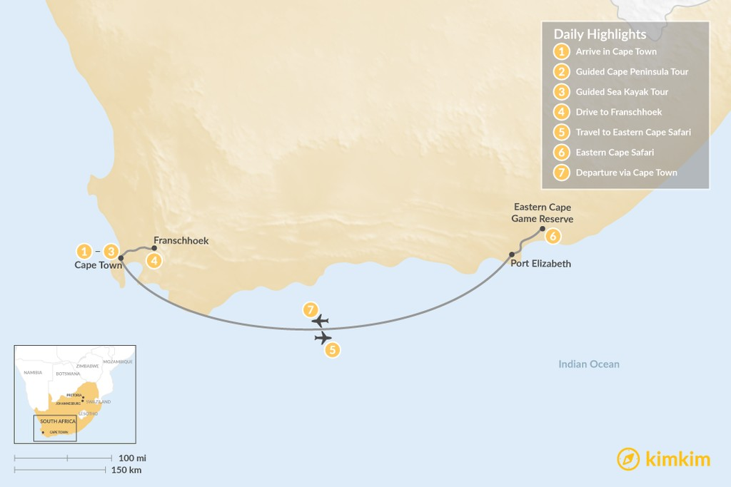 Map of South Africa Adventure: Cape Town, Winelands, & Eastern Cape Safari - 7 Days