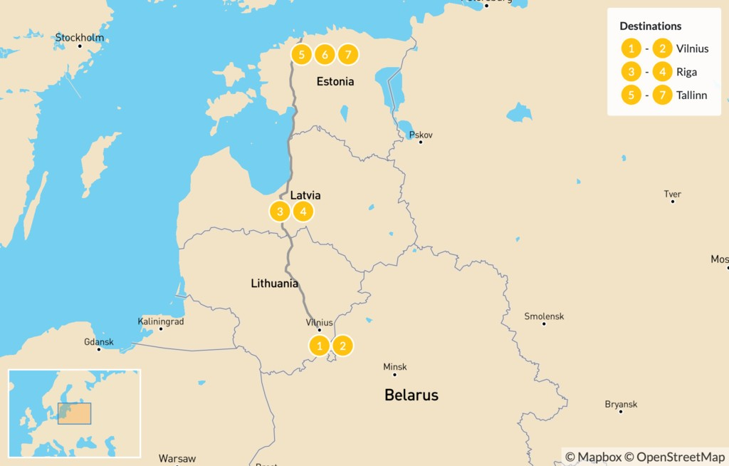 Map of Exploring the Baltic Capitals - 7 Days