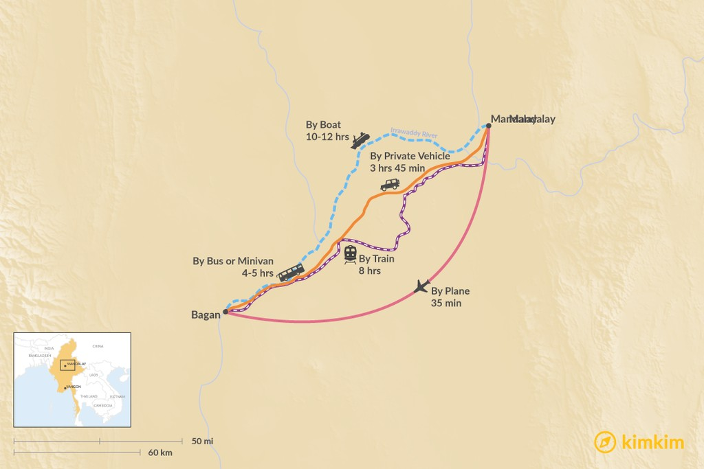 Map of How to Get from Mandalay to Bagan