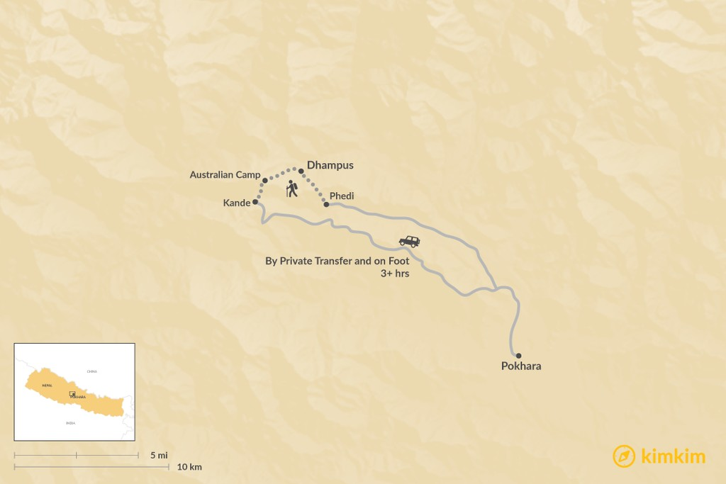 Map of How to Get from Pokhara to Dhampus