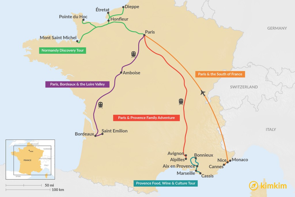 Map of 7 Days in France - 5 Unique Itinerary Ideas