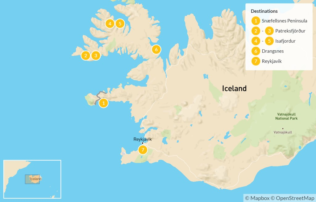 Map of Best of the West: Snaefellsnes Peninsula and Westfjords - 8 Days