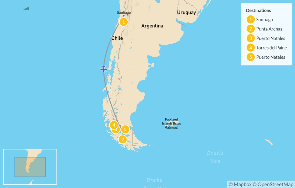 Map of Explore Chilean Patagonia - 6 Days