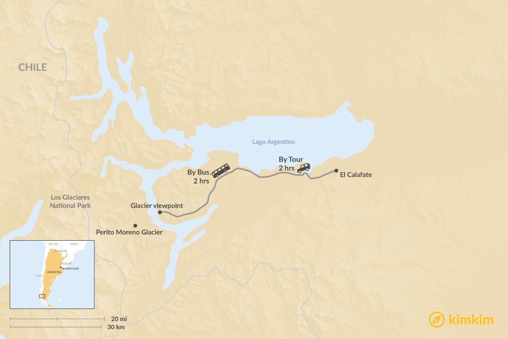 Map of How to Get to Perito Moreno Glacier