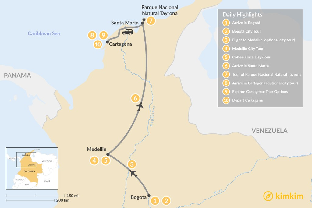Map of Discover Medellín, Bogotá, & Tayrona National Park - 12 Days