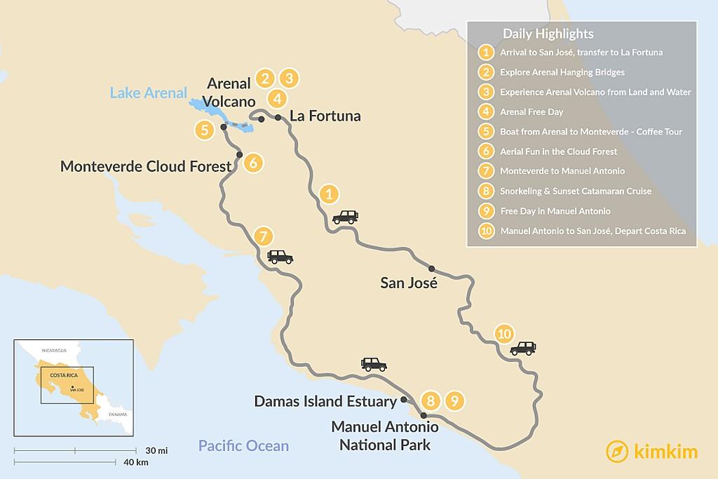 Map of Best of Costa Rica: Arenal, Monteverde & Manuel Antonio - 10 Days