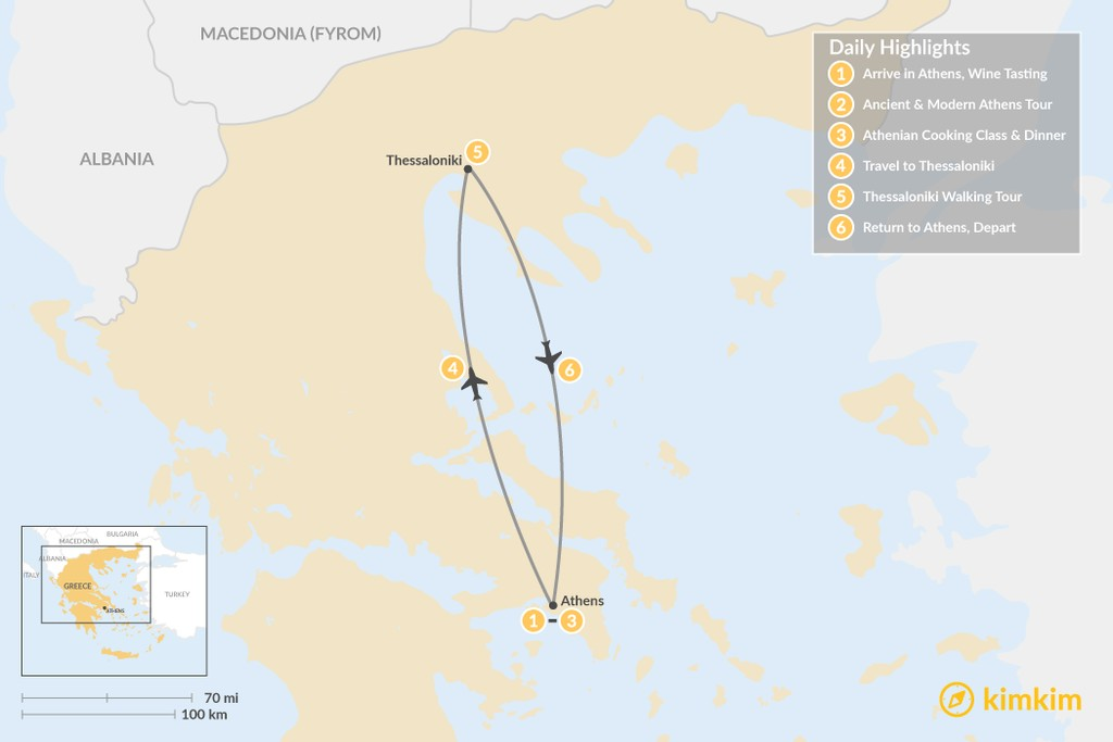Map of Urban Adventures and History in  Athens & Thessaloniki - 6 Days