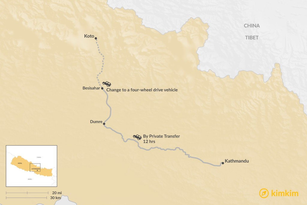 Map of How to Get from Kathmandu to Koto