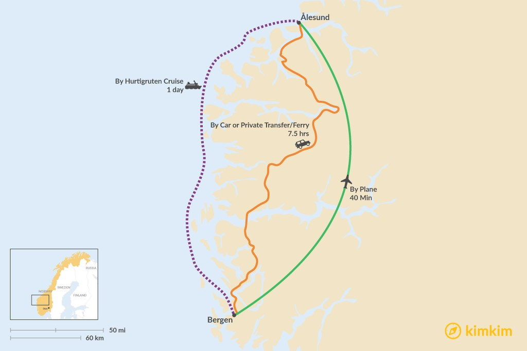 Map of How to Get from Bergen to Ålesund