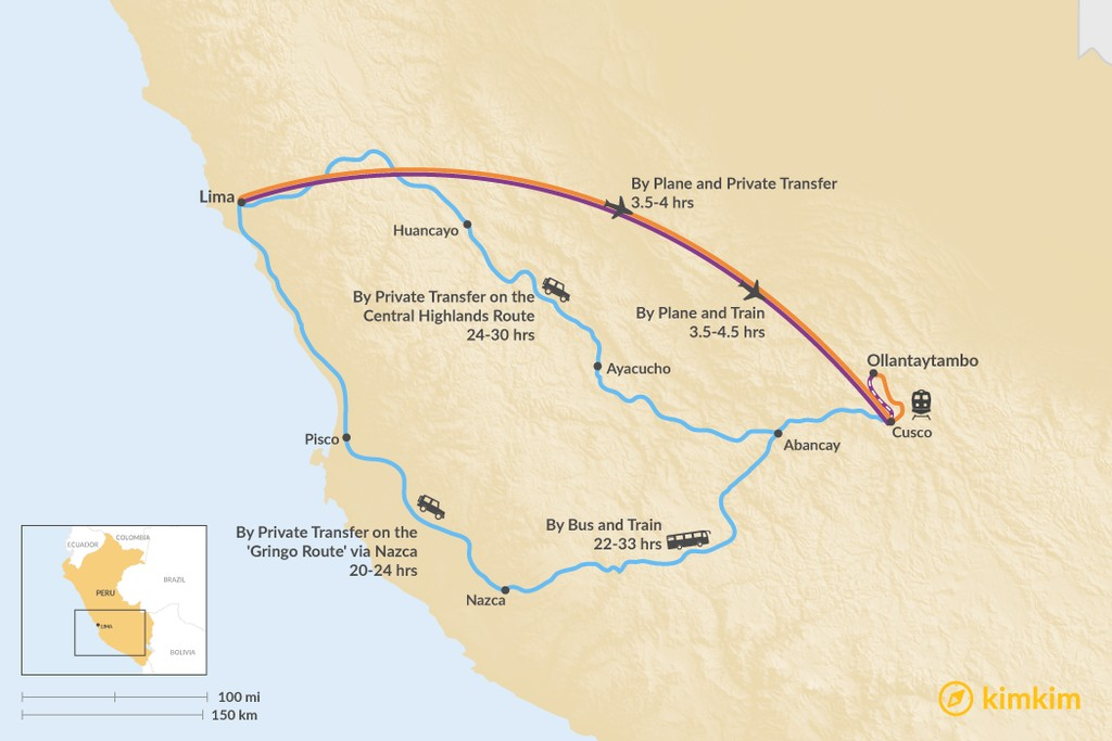 Map of How to Get from Lima to Ollantaytambo