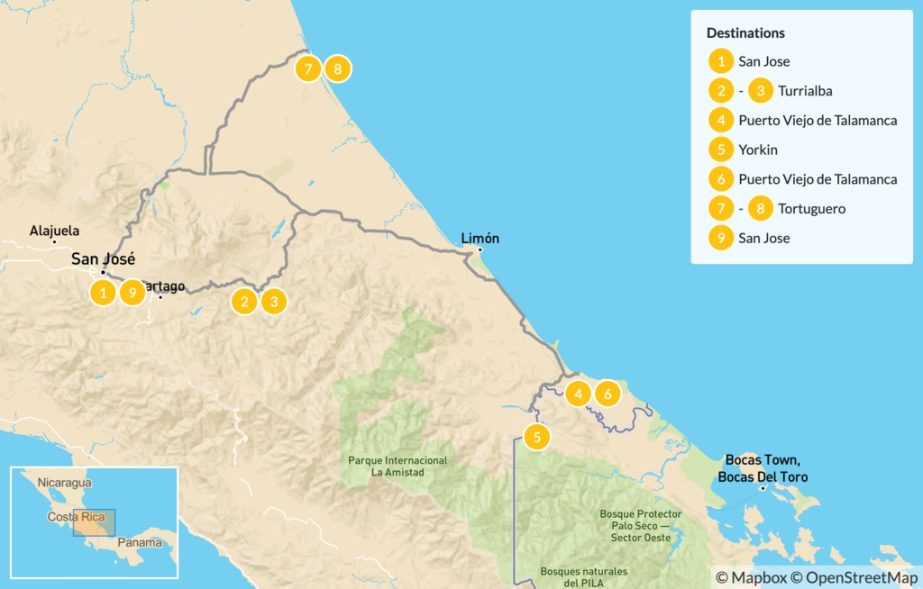 Map of Costa Rica Indigenous Culture & Tortuguero National Park - 10 Days