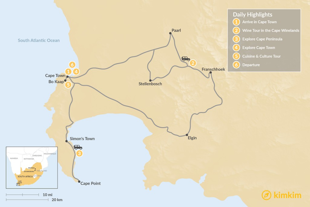 Map of Classic South Africa: Cape Town, Winelands, & Cape Point - 6 Days