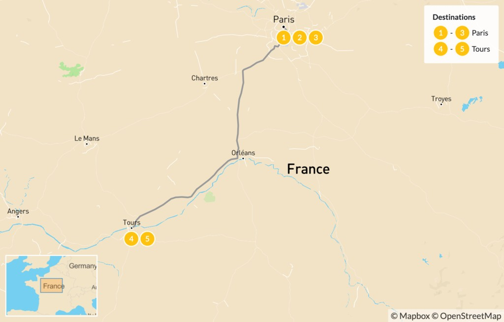 Map of Road Trip through Western France: Paris & the Loire Valley - 6 Days