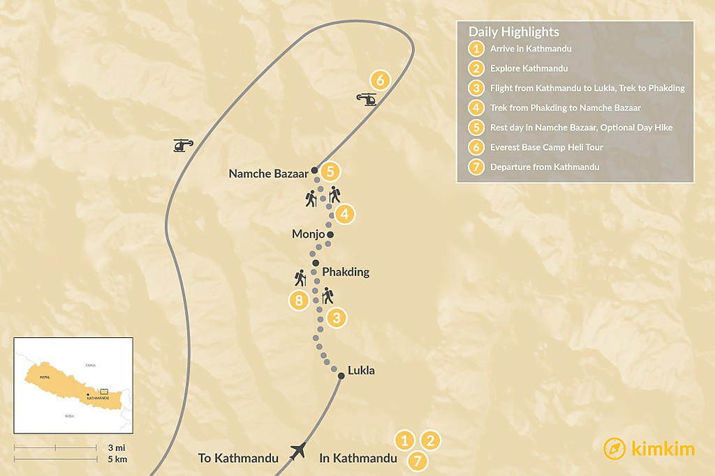 Map of Namche Bazaar Trek & Helicopter Tour - 7 Days