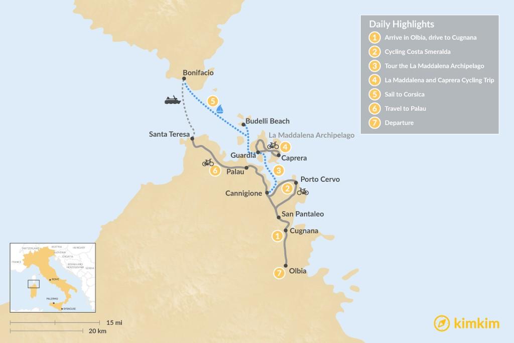 Map of Sardinia & Corsica - Boat & Bike - 7 days