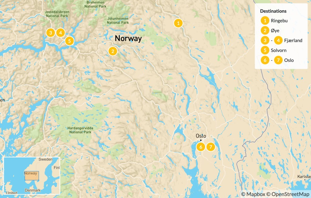 Map of Norway Mountains & Fjords Road Trip - 8 Days