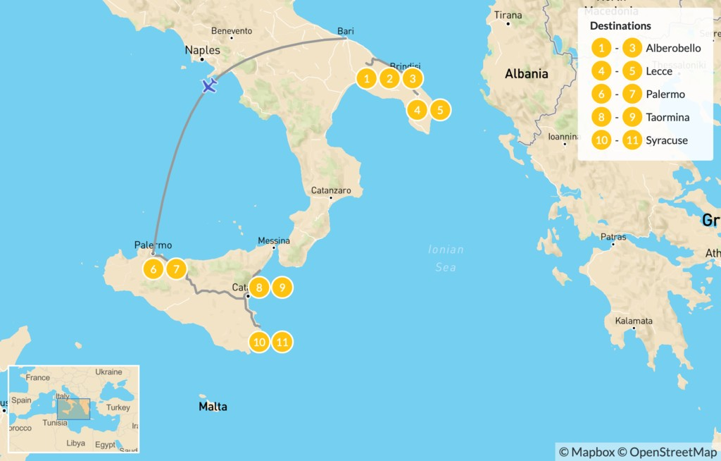 Map of Puglia & Sicily Highlights - 12 Days