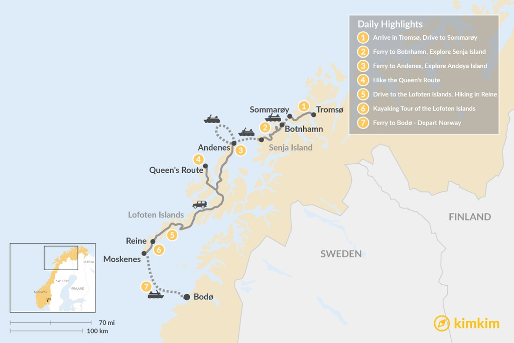 Map of Summer Road Trip:  Norway's West Coast - 7 Days