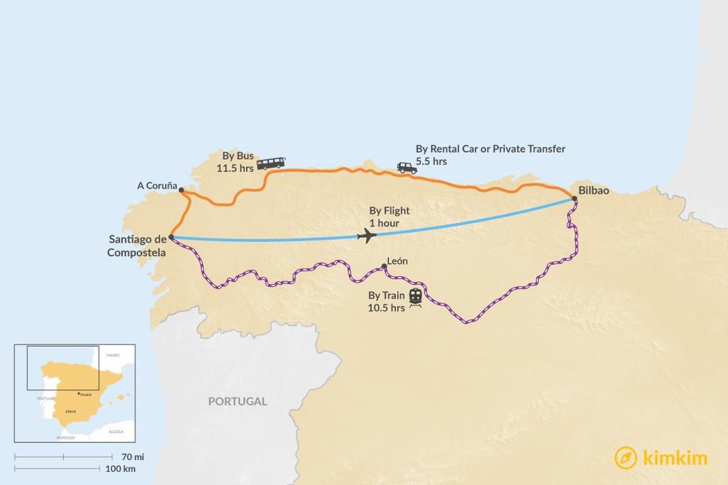 Map of How to Get from Santiago de Compostela to Bilbao