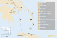 Map thumbnail of Greek Panorama in Athens, Mainland Greece, The Cyclades, and Crete - 19 Days
