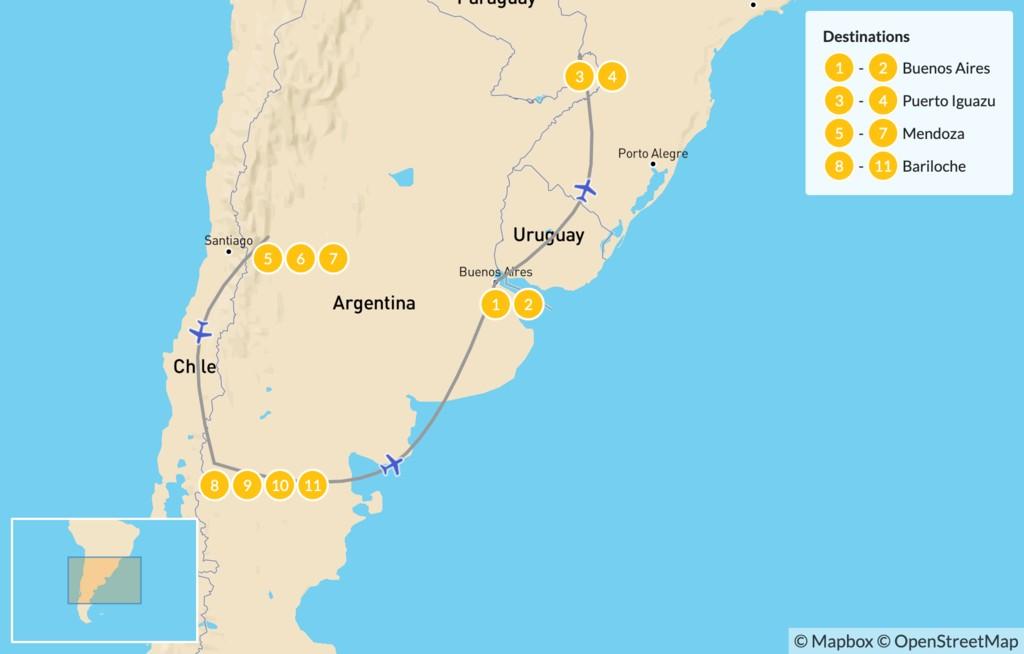 Map of Buenos Aires, Iguazú Falls, Mendoza, & Bariloche - 12 Days